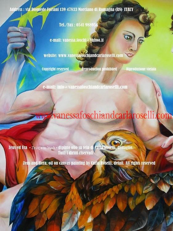 Zeus, foudre, tableau par Carla Roselli, beaux arts - Zeus, Der Donner, Gemälde von Zeus und Hera, Künstlerin Carla Roselli, Bildende Kunst