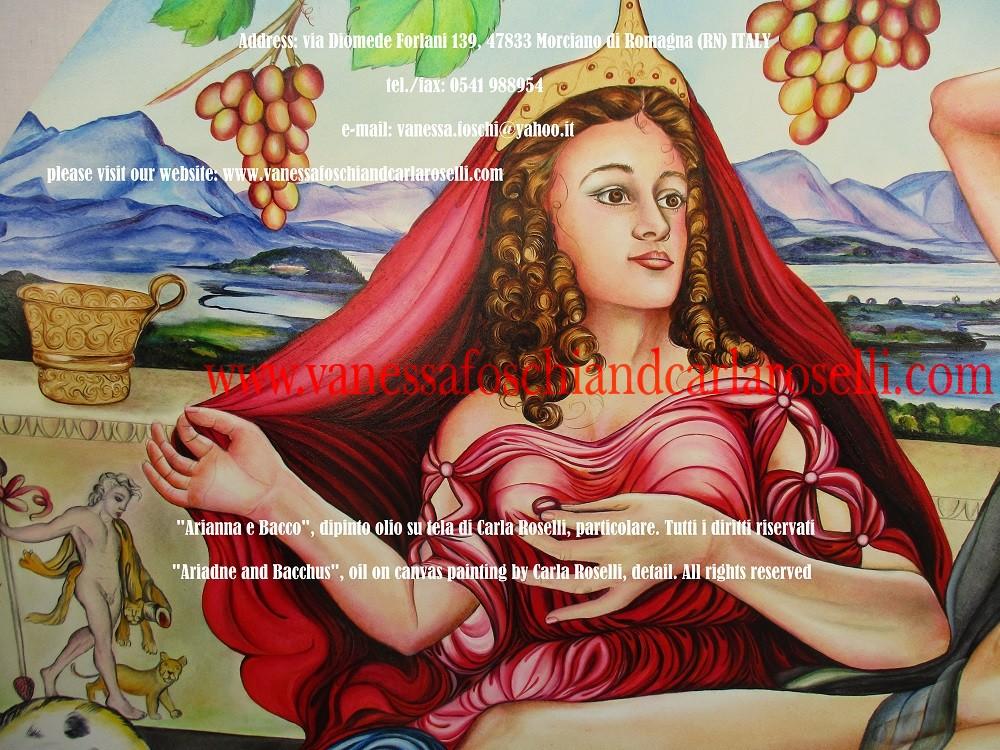Bacco e Arianna, Βάκχος, dipinto olio su tela di Carla Roselli-Ariadne and Bacchus, oil on canvas painting by Carla Roselli
