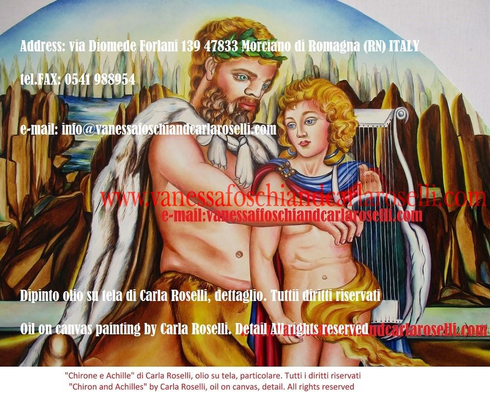 Chirone il centauro, dipinto dalla pittrice italiana Carla Roselli. Sullo sfondo le mitiche vette del Pelio