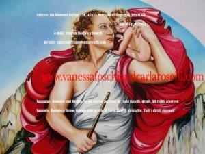 Carla Roselli raffigura in questo dipinto Faustolo, il mandriano che trovò, per volere divino, i gemelli Romolo e Remo. Accanto siede la lupa fulva, animale sacro al loro padre Marte, che li salvò dalle acque.