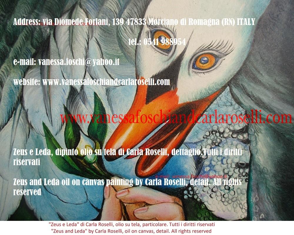 Leda e il cigno sono i soggetti di questi dipinti di Carla Roselli. La tela è stata montata manualmente su un telaio tondo, come nella maggior parte delle opere della pittrice.