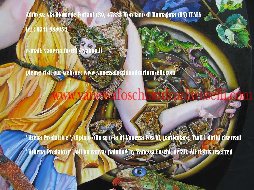 Athena Predatory, shield, oil on canvas painting by Vanessa Foschi