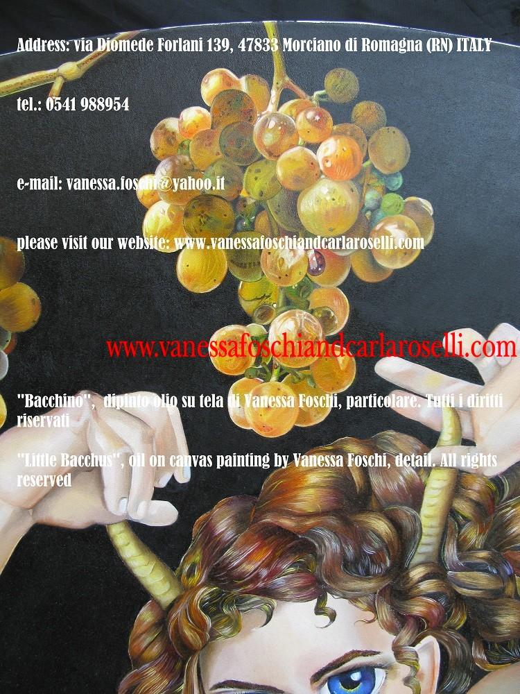 Bacco dio del vino, bellissima uva Moscatello, antico vitigno di Roselli Secondo, dipinto olio su tela di Vanessa Foschi