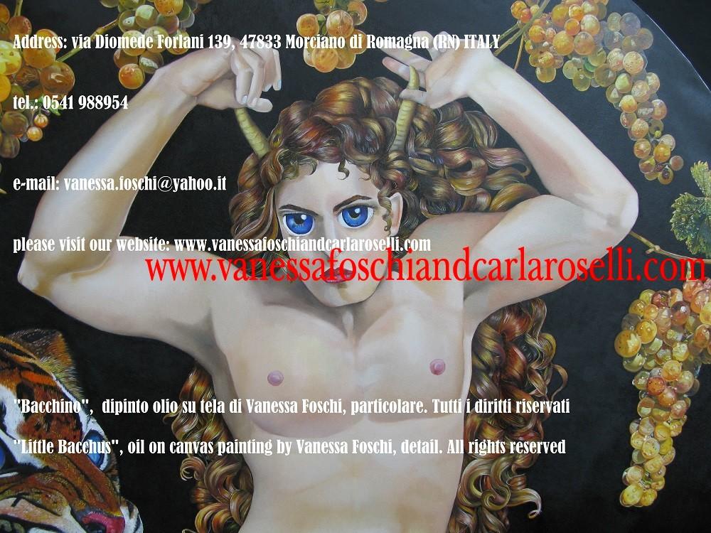 Bacco dio del vino, dio dalle corna di toro, dipinto su tela di Vanessa Foschi - Βάκχος