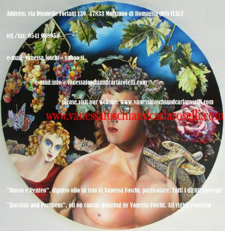 Bacco dio del vino e Penteo, dipinto olio su tela di Vanessa Foschi
