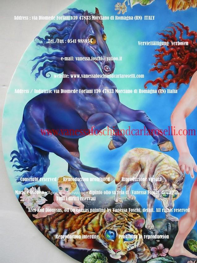 Cheval de Ares, dieu des armées, avec la criniere et la queue etincelantes et des yeux de feu, œuvre par Vanessa Foschi