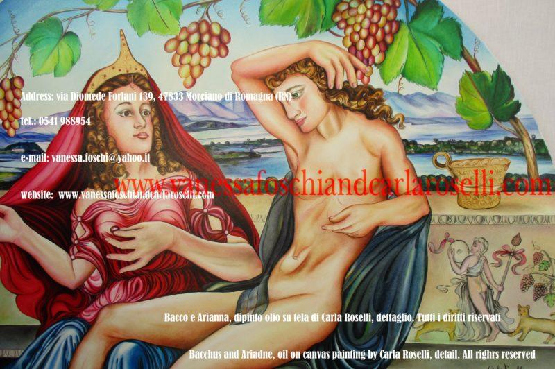 Dei greci, Bacco e Arianna, dipinto olio su tela di Carla Roselli, fregio con Menadi e felini