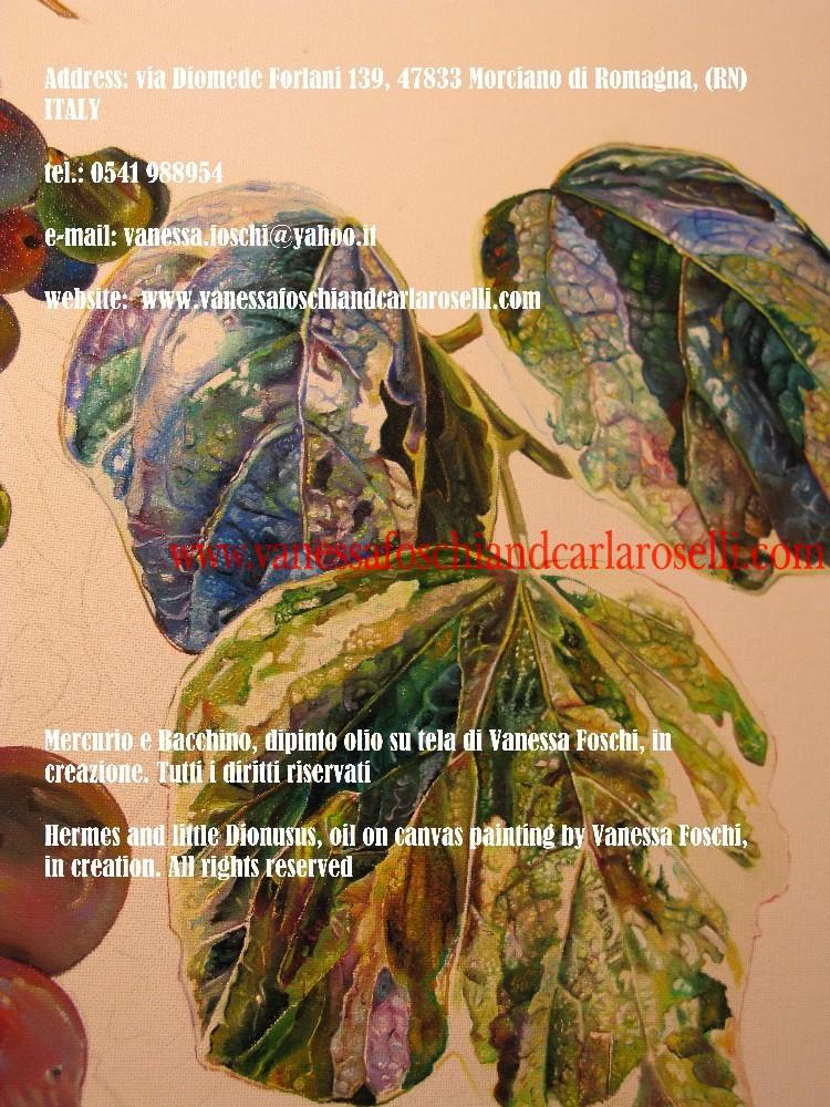Dei greci, Mercurio e Bacchino, dipinto olio su tela di Vanessa Foschi, in creazione, foglie di edera-Hermes and little Dionysus by Vanessa Foschi