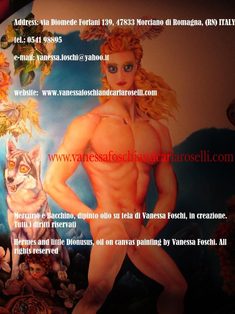 Dei greci, Mercurio e Bacchino, dipinto olio su tela di Vanessa Foschi, in creazione -Hermes and little Dionysus by Vanessa Foschi