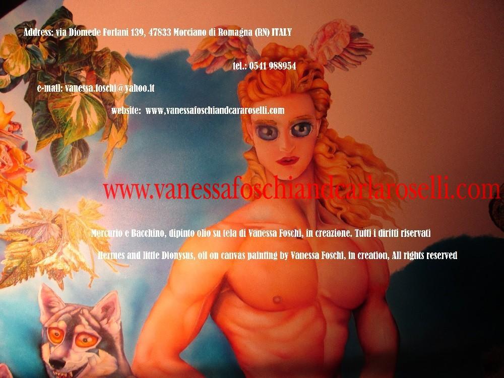 Dei greci e storia romana, Mercurio e Bacchino, dipinto olio su tela di Vanessa Foschi, in creazione- Hermes and little Dionysus by Vanessa Foschi