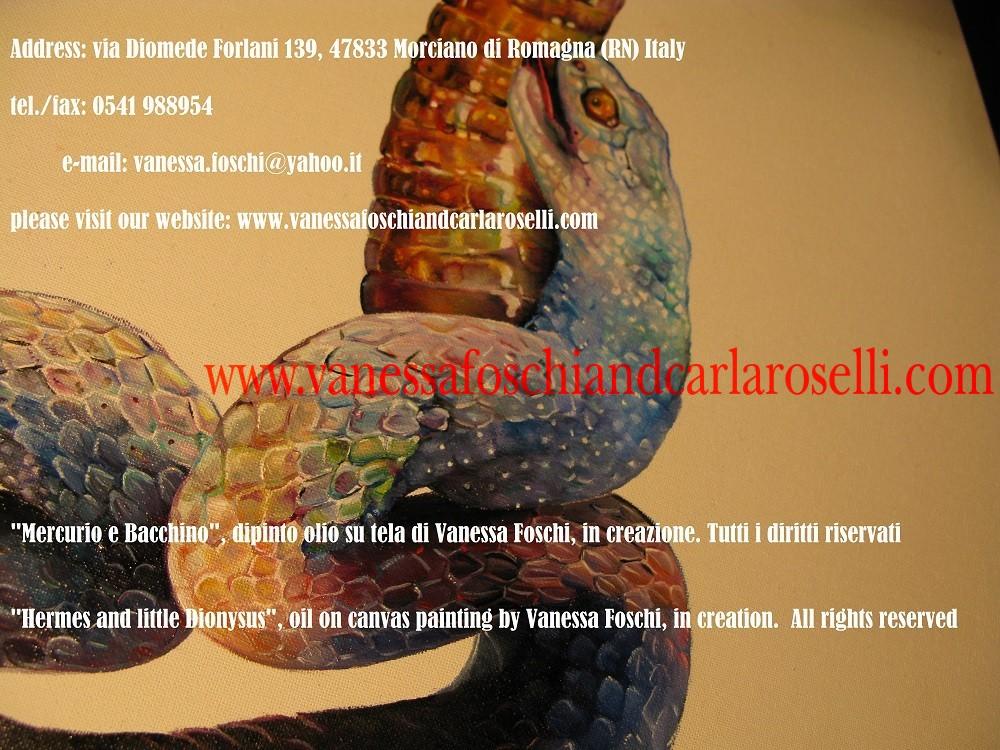 Dei greci, Mercurio e Bacchino, dipinto olio su tela di Vanessa Foschi, in creazione- Hermes and little Dionysus, oil on canvas painting by Vanessa Foschi, in creation