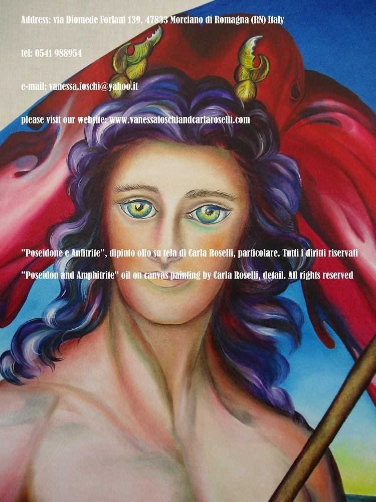 Dei greci e storia romana, Nettuno e Anfitrite, dipinto olio su tela di Carla Roselli- Poseidon and Amphitrite, oil on canvas painting by Carla Roselli