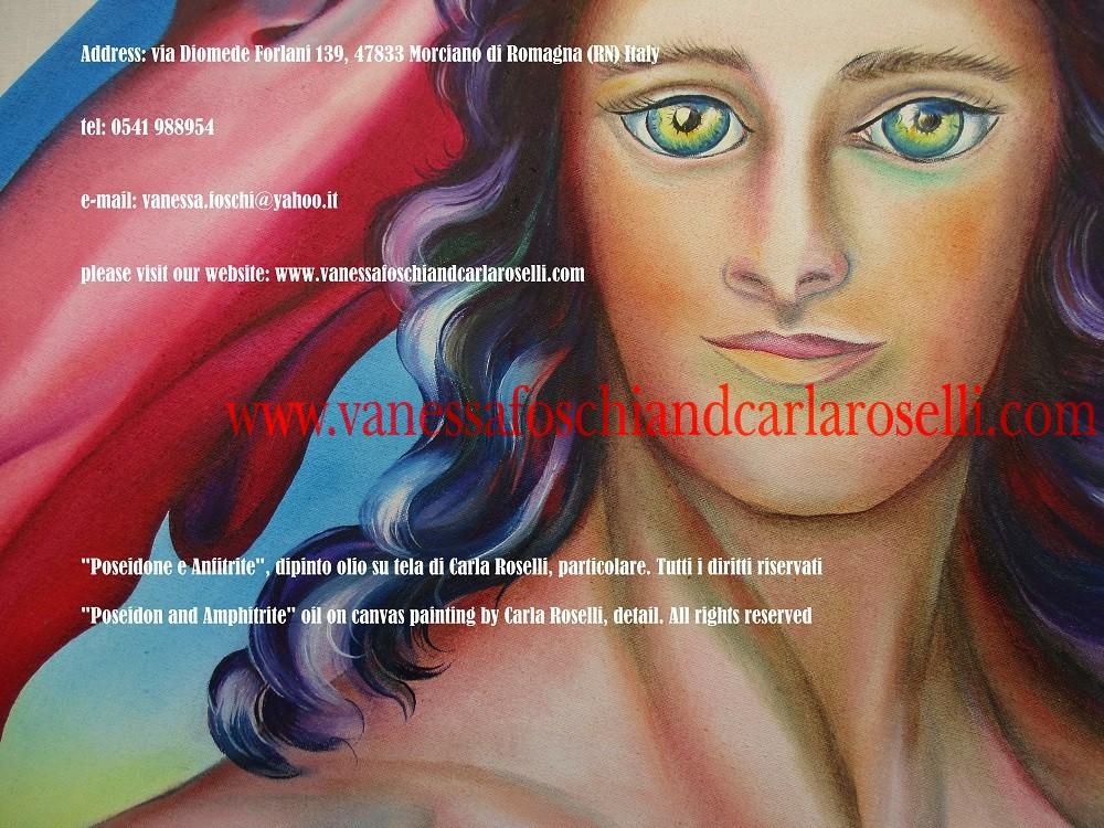 Dei greci, Nettuno e Anfitrite, dipinto olio su tela di Carla Roselli- Poseidon and Amphitrite, oil on canvas painting by Carla Roselli