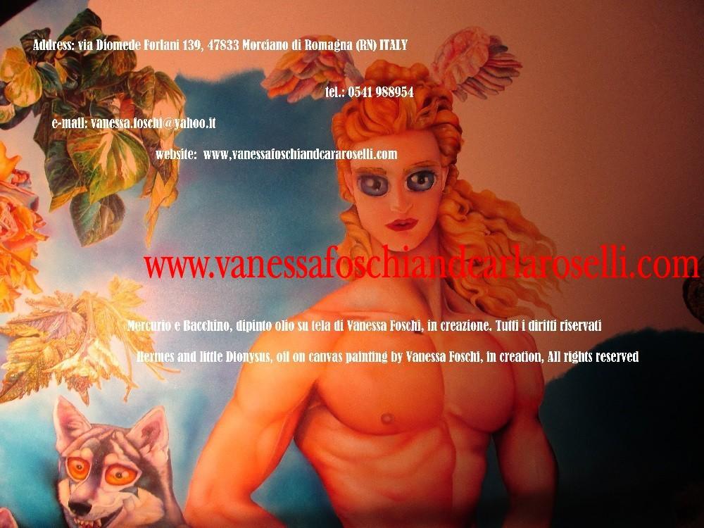 Dei greci e romani-Mercurio e Bacchino, dipinto olio su tela di Vanessa Foschi in creazione-Hermes and little Dionysus by Vanessa Foschi