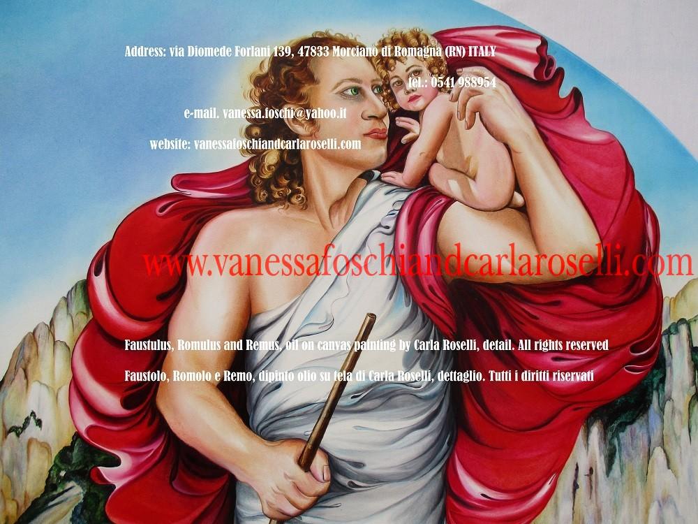 Dei greci e storia romana, Romolo, Remo, Faustolo e la lupa, dipinto olio su tela di Carla Roselli