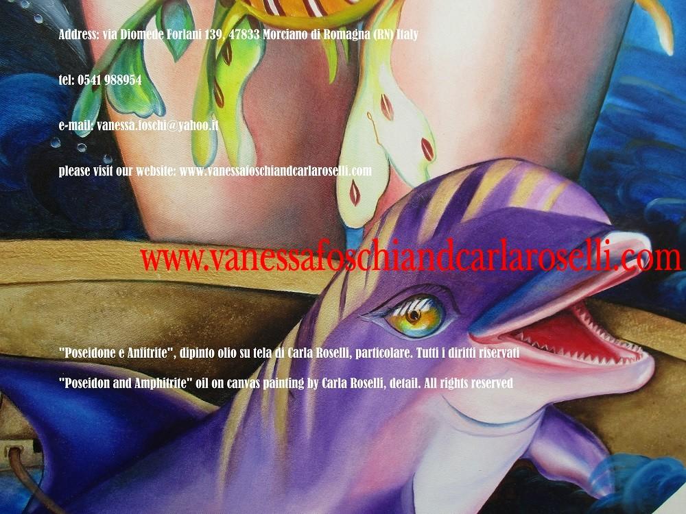 Dio che sostiene la terra, dipinto di Carla Roselli, delfino e aurea biga