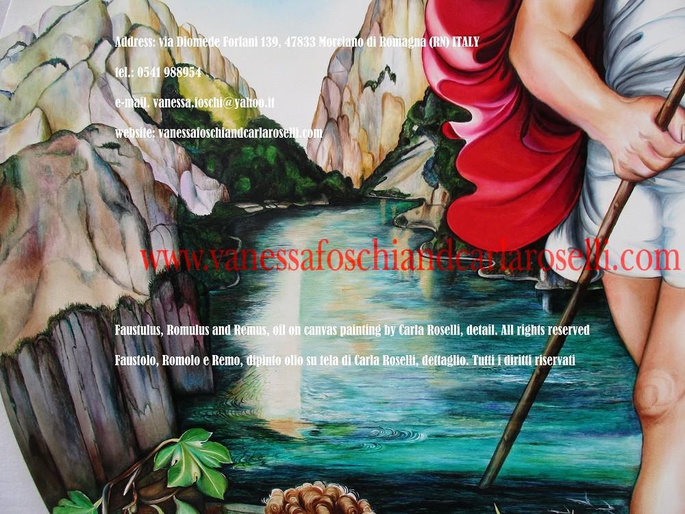 Faustolo, Romolo e Remo, dipinto olio su tela di Carla Roselli-Faustulus, Romulus and Remus oil on canvas painting by Carla Roselli, Metaurus