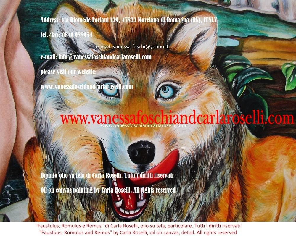 Romolo e Remo e la lupa, dipinto olio su tela di Carla Roselli- oil on canvas by Carla Roselli