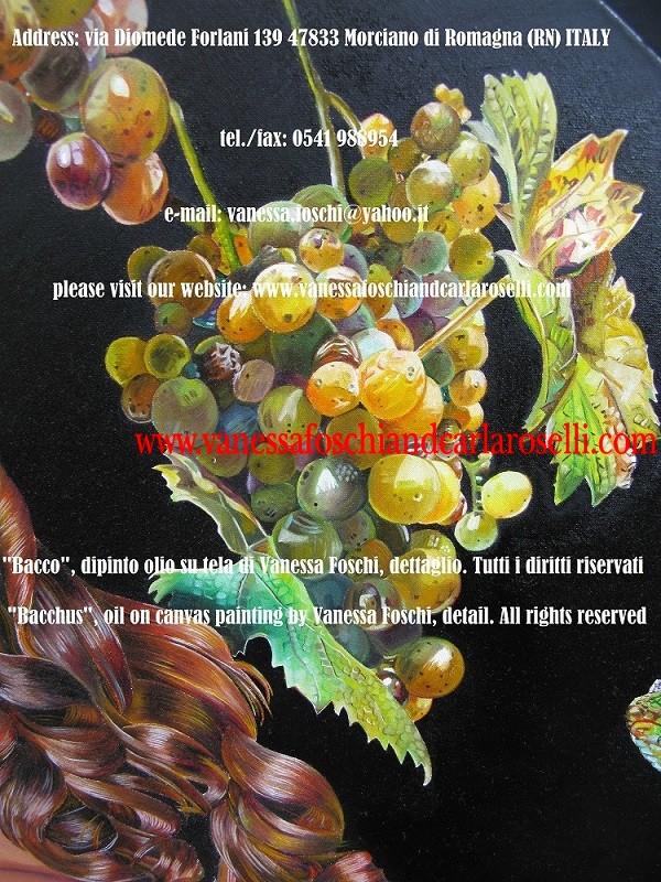 Βακχος- Bacco- Bacchus, oil on canvas painting by Vanessa Foschi, bunch of grapes, grappes de raisin