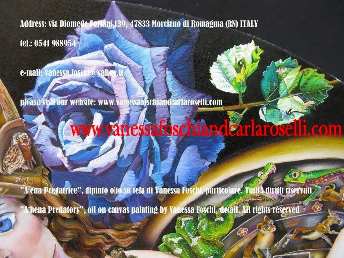 Alcioneo e Atena predatrice (Minerva) di Vanessa Foschi, in creazione, tecnica olio su tela, rosa blu