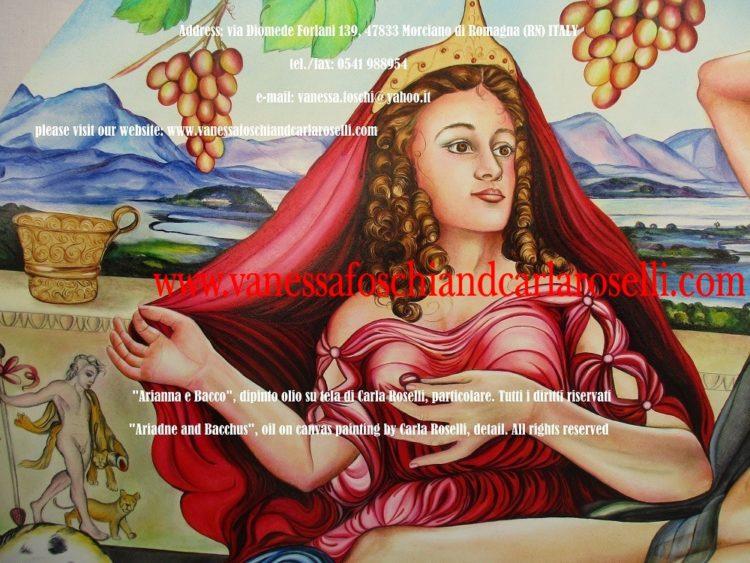 Bacco e Arianna, dipinto olio su tela di Carla Roselli, Satiri e Sileni muniti di tirso adornano il fregio