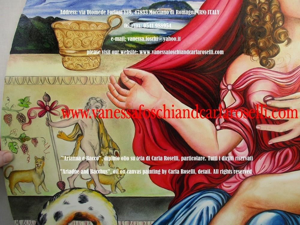 Bacco e Arianna, dipinto olio su tela di Carla Roselli, coppa aurea minoica