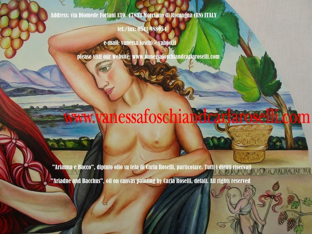 Bacco e Arianna, dipinto olio su tela di Carla Roselli, coppa aurea minoico-micenea