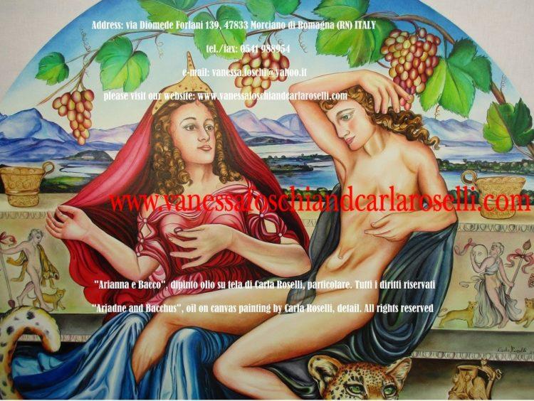 Bacco e Arianna, dipinto olio su tela di Carla Roselli, isola di Nasso