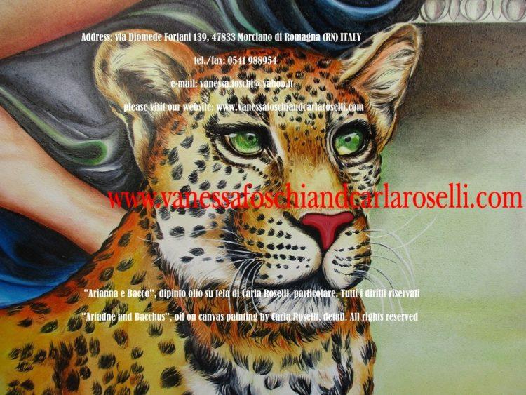 Bacco e Arianna, dipinto olio su tela di Carla Roselli, leopardo