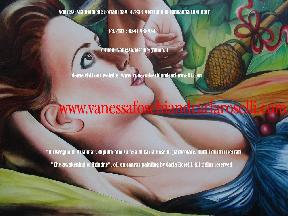 Bacco e Arianna, dipinto olio su tela di Carla Roselli, risveglio di Arianna a Nasso, tirso