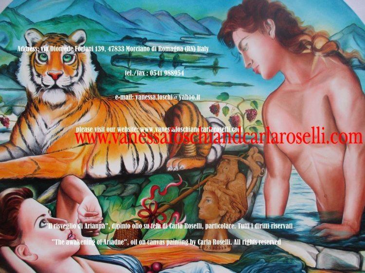 Bacco e Arianna, dipinto olio su tela di Carla Roselli, tigre