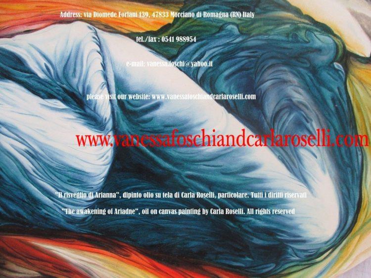 Bacco e Arianna, dipinto olio su tela di Carla Roselli, vestito blu di Arianna