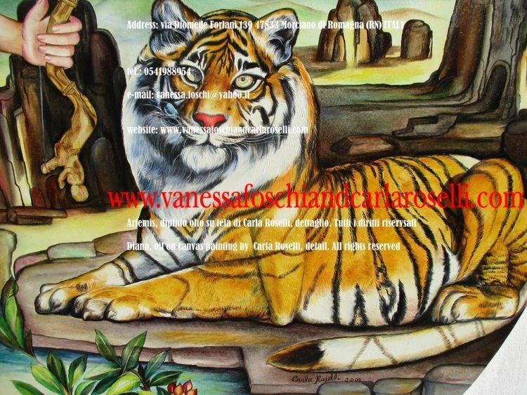 Dea Artemide-Figlia di Latona-Artemis Diana, dipinto olio su tela diCarla Roselli, tigre-oil on canvas painting by Carla Roselli, tiger