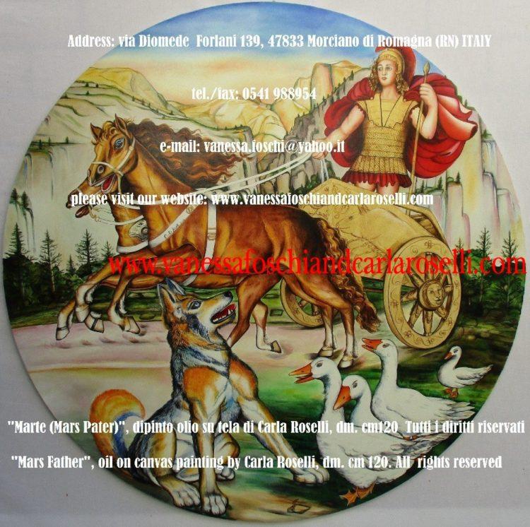 Gradivus Mars Pater-Gradivo, dio Marte, signore della guerra, colui che incede in battaglia, dipinto olio su tela di Carla Roselli, diam. cm.120