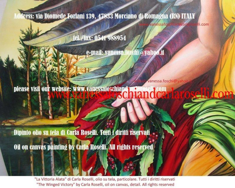 La Vittoria Alata, dipinto olio su tela di Carla Roselli, ghirlanda di alloro