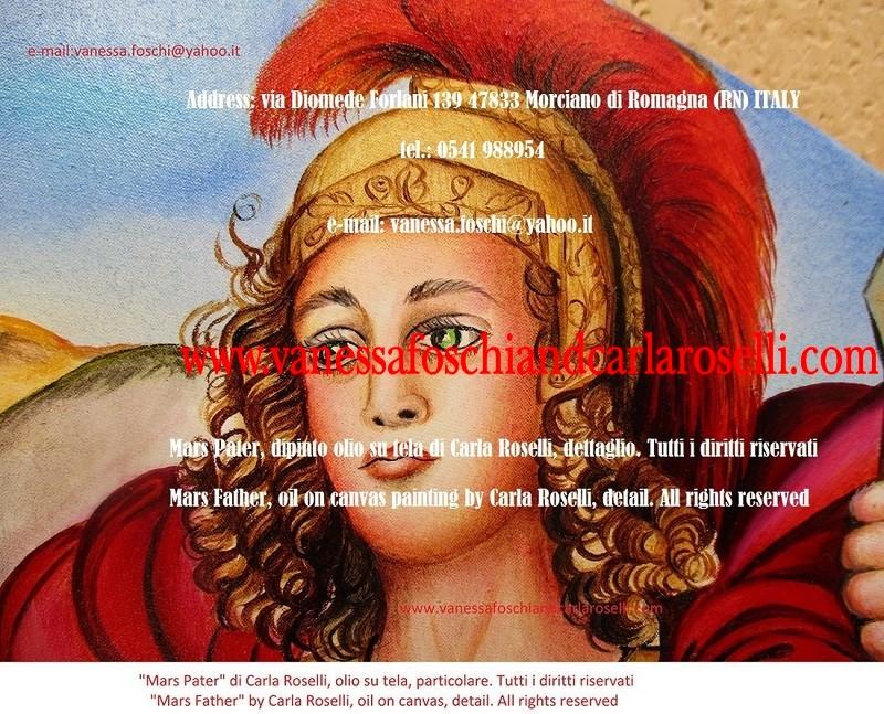 Mars god of war-Marte-dio-della-guerra-dipinto-olio-su-tela-di-Carla-Roselli-elmo