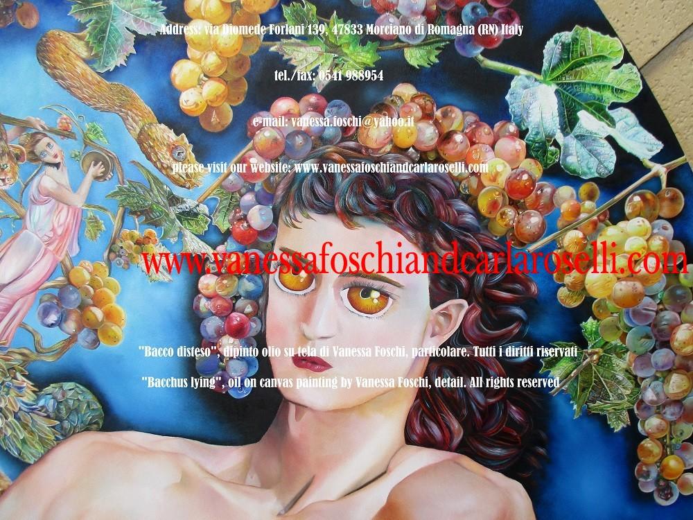 Moscatello, antico vitigno di Secondo Roselli, nel dipinto olio su tela Bacco Disteso di Vanessa Foschi
