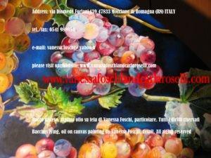 Moscatello antico vitigno di Secondo Roselli, nel dipinto olio su tela Bacco Disteso di Vanessa Foschi