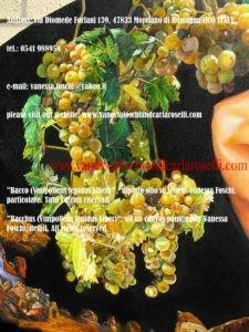 Moscatello, antico vitigno di Secondo Roselli, nel dipinto olio su tela Bacco di Vanessa Foschi, pittrice nata a Rimini