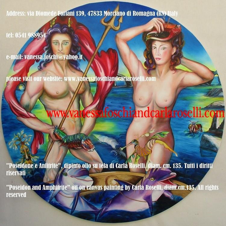 Scuotitor della terra, Nettuno Poseidone, con la consorte Anfitrite Salacia, dipinto olio su tela di Carla Roselli