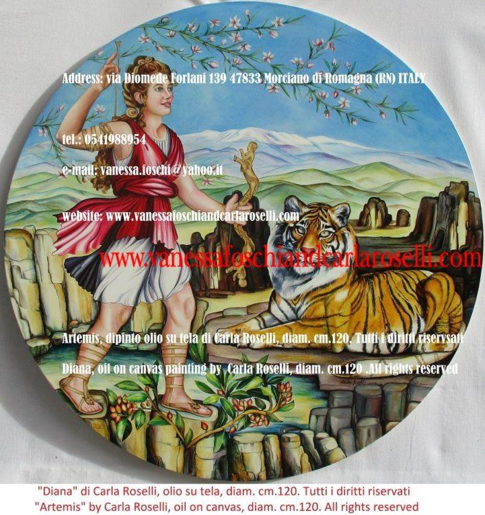 figlia di Giove e Latona-Artemis Diana, dipinto olio su tela di Carla Roselli-oil on canvas painting by Carla Roselli diam. cm.120.