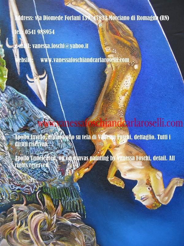 Apollo Sminthios, tableau huile sur toile peint par Vanessa Foschi, arc en argent