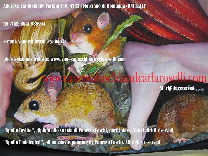 Apollo Sminthios, tableau huile sur toile peint par Vanessa Foschi, rats