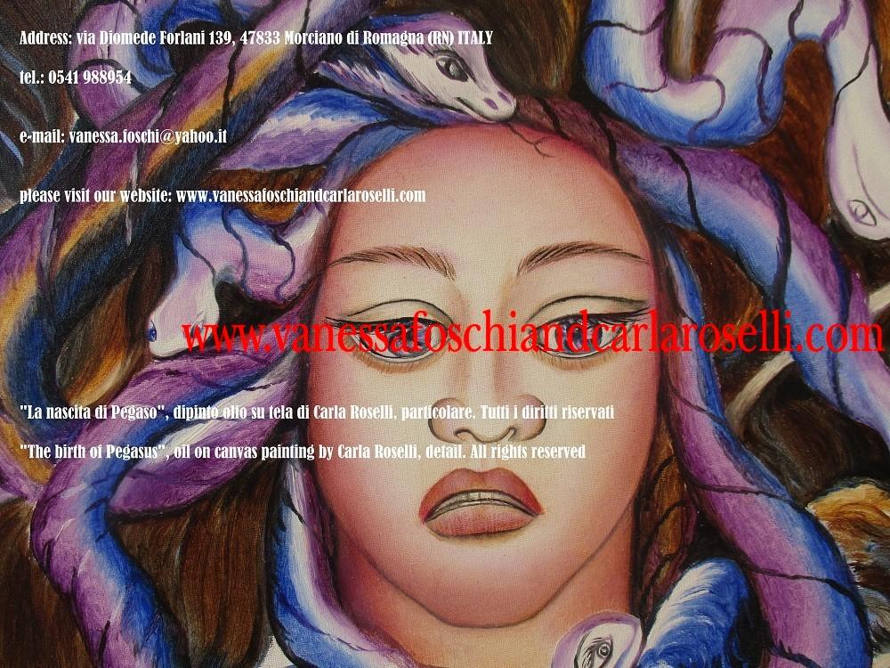 Cavallo Alato, Pegaso, Perseo e testa di Medusa dipinto olio su tela di Carla Roselli - Le pittrici degli dei