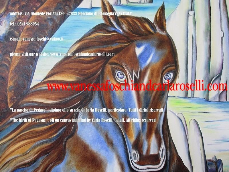 Cavallo Alato, Pegaso figlio di Poseidone, Perseo e Medusa dipinto olio su tela di Carla Roselli - Le pittrici degli dei