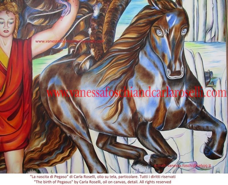 Cavallo alato nel dipinto La nascita di Pegaso di Carla Roselli - Le Pittrici degli Dei