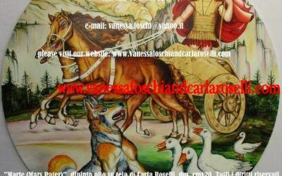 Mars, dio della guerra, colui che incede in battaglia, dipinto olio su tela di Carla Roselli- Le pittrici degli Dei