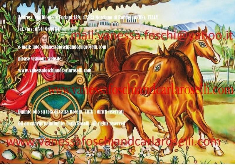 Pariglia di cavalli sauri tirano il carro di Flora nel dipinto di Carla Roselli, una de Le Pittrici degli Dei di Morciano