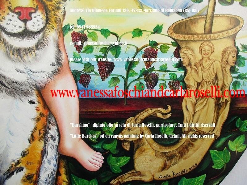 Sangiovese. Uva Sangiovese e ori micenei nel dipinto Bacchino di Carla Roselli, tecnica olio su tela- Le Pittrici degli Dei