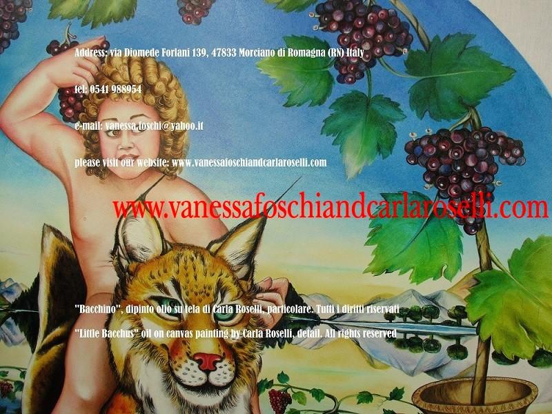 Sangiovese. Uva Sangiovese nel dipinto Bacchino di Carla Roselli, tecnica olio su tela- Le Pittrici degli Dei